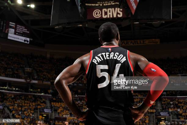 Patrick Patterson of the Toronto Raptors stands on the court during Game One of the Eastern Conference Semifinals against the Cleveland Cavaliers of...