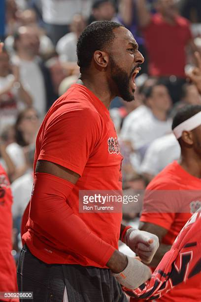 Patrick Patterson of the Toronto Raptors yells from the bench during game four of the Eastern Conference Finals against the Cleveland Cavaliers on...