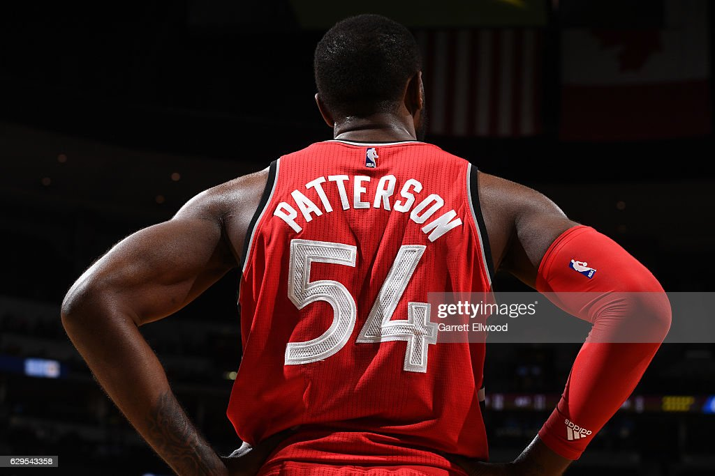 Patrick Patterson #54 of the Toronto Raptorss stands on the court during a game against the Denver Nuggets on November 18, 2016 at the Pepsi Center in Denver, Colorado.