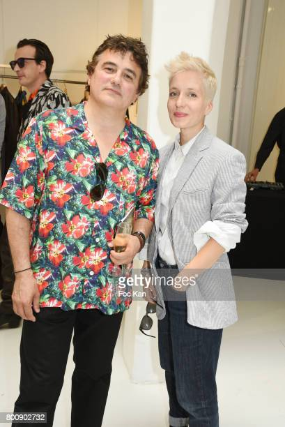 Patrick Pelloux and Jeanne Added pose during Agnes B Menswear Spring/Summer 2018 show as part of Paris Fashion Week ton June 25 2017 in Paris France