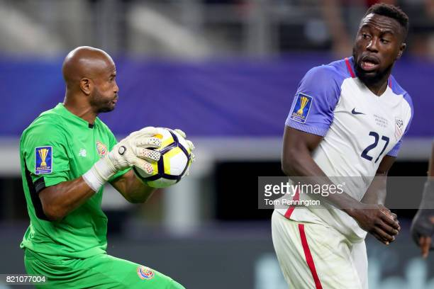 Patrick Pemberton of Costa Rica makes a save against Jozy Altidore of United States during the 2017 CONCACAF Gold Cup Semifinal at ATT Stadium on...