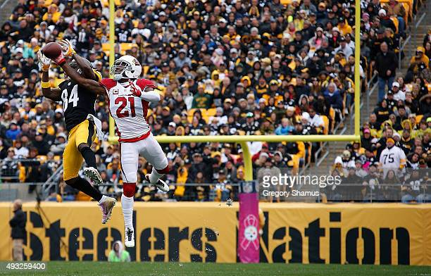 Patrick Peterson of the Arizona Cardinals defends a pass to Antonio Brown of the Pittsburgh Steelers during the 1st half of the game at Heinz Field...