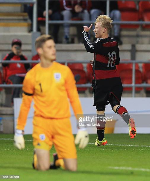 Patrick Pfluckeke of Germany celebrates his goal during the Under 18 International Friendly match between England U18 and Germany U18 at The New York...