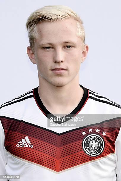 Patrick Pfluecke poses during the U19 Germany team presentation at Sportpark Hoehenberg on September 4 2014 in Cologne Germany