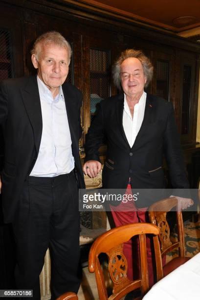Patrick Poivre d'Arvor and Gonzague Saint Bris attend 'Journees du Livre et du Vin 2017' Jury Deliberation Lunch at Le Procope on March 27 2017 in...