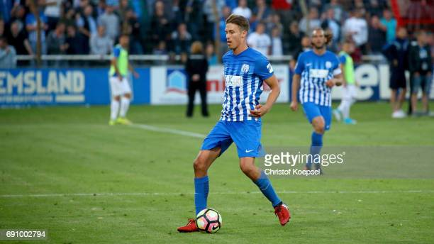 Patrick Posipal of Meppen runs with the ball during the Relegation Regionalliga Play Off second leg match at Hensch Arena on May 31 2017 in Meppen...