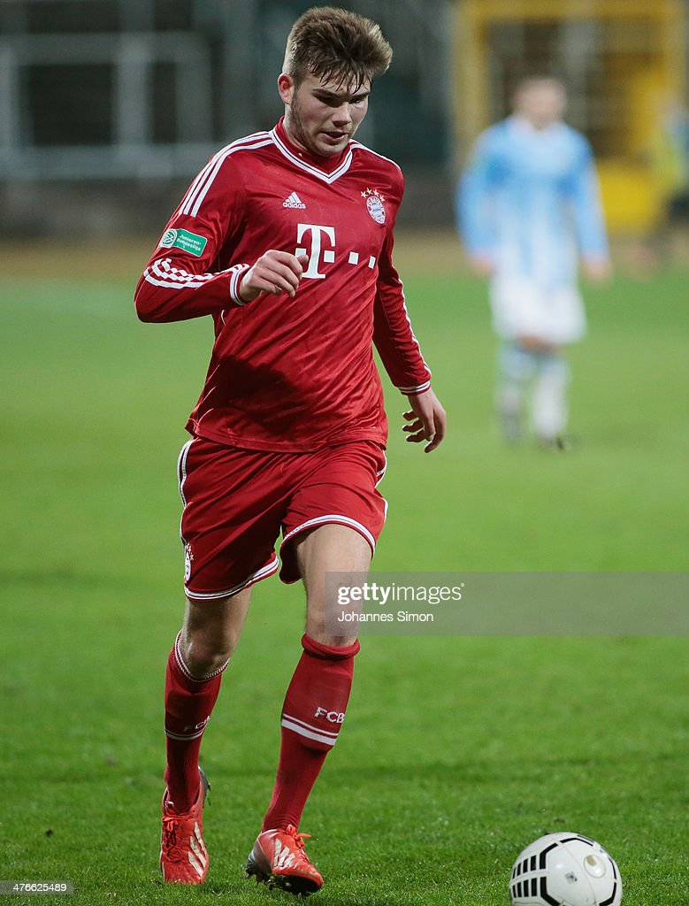 Patrick Puchegger of FC Bayern in action during the A Juniors Bundesliga match between 1860 Muenchen and Bayern Muenchen at Stadion an der Gruenwalder Strasse on February 21, 2014 in Munich, Germany.