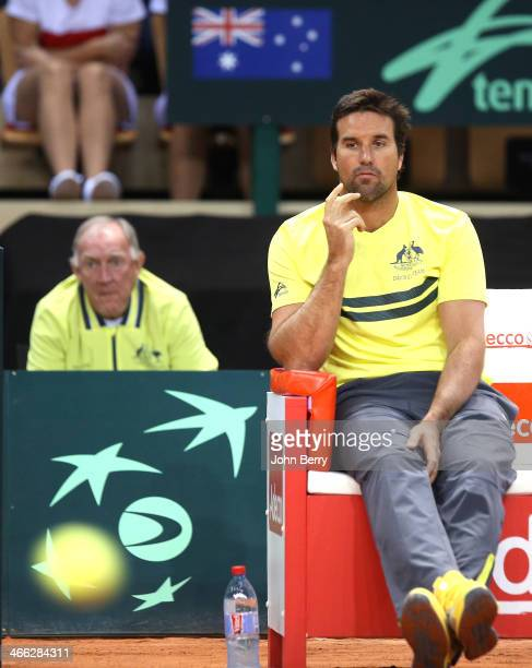 Patrick Rafter captain of Australia and Tony Roche behind him look on during the 1st round Davis Cup tie between France and Australia at the...