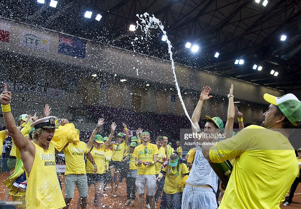 Patrick Rafter, Captain of Australia celebrates his team's victory during the Davis Cup match between Poland and Australia at the Torwar Hall on September 15, 2013 in Warsaw, Poland.