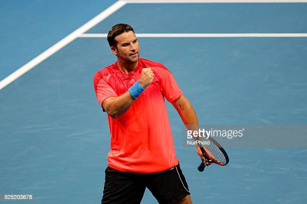Patrick Rafter of the Singapore Slammers gestures after a point against Fabrice Sontoro of the Indian Aces during their singles match at the...