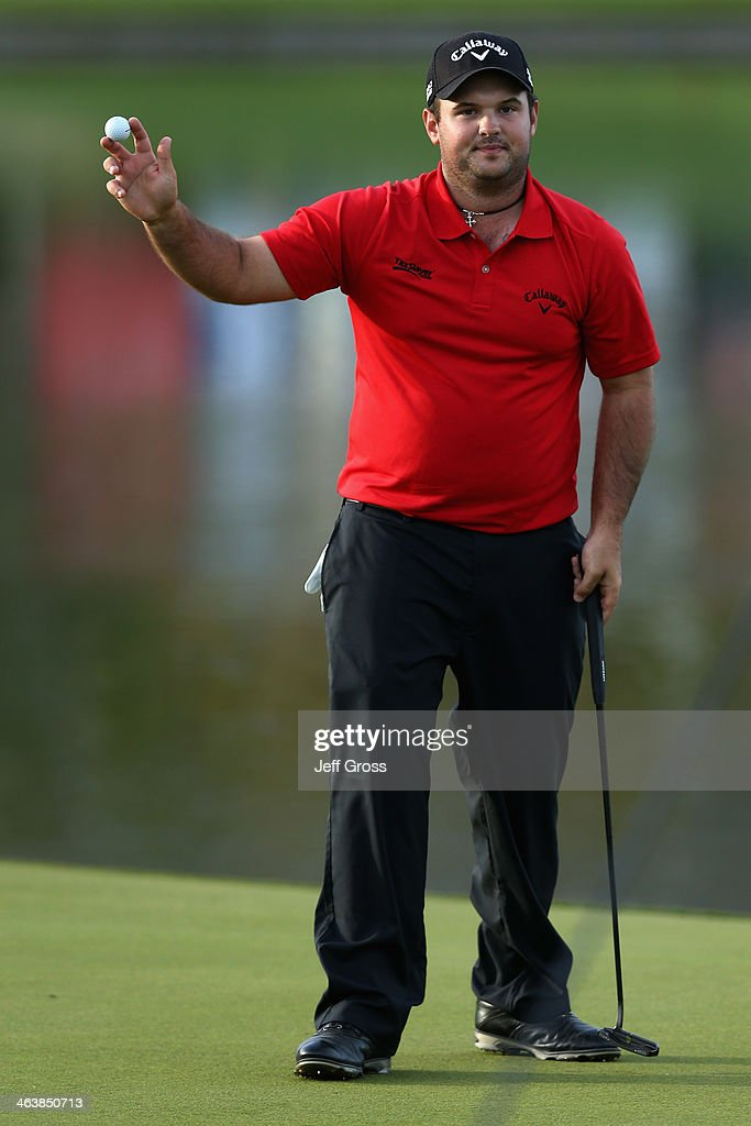 Patrick Reed acknowledges the gallery on the 18th green after winning the Humana Challenge in partnership with the Clinton Foundation on the Arnold...