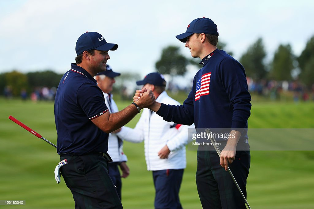 <a gi-track='captionPersonalityLinkClicked' href=/galleries/search?phrase=Patrick+Reed&family=editorial&specificpeople=846151 ng-click='$event.stopPropagation()'>Patrick Reed</a> (L) and <a gi-track='captionPersonalityLinkClicked' href=/galleries/search?phrase=Jordan+Spieth&family=editorial&specificpeople=5440480 ng-click='$event.stopPropagation()'>Jordan Spieth</a> of the United States celebrate victory on the 15th hole during the Morning Fourballs of the 2014 Ryder Cup on the PGA Centenary course at the Gleneagles Hotel on September 27, 2014 in Auchterarder, Scotland.