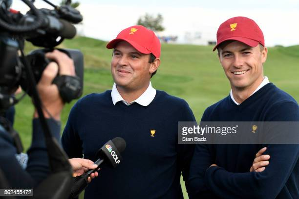 Patrick Reed and Jordan Spieth of the United States Team are interviewed by TV on the 17th hole during the afternoon fourball matches at the...