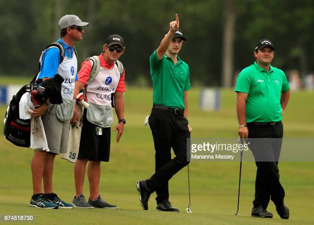 Patrick Reed and Patrick Cantlay prepare to putt on the 17th hole during the second round of the Zurich Classic at TPC Louisiana on April 28 2017 in...