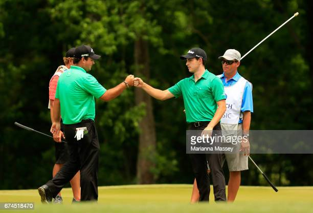 Patrick Reed and Patrick Cantlay reacts to their putt on the 15th hole during the second round of the Zurich Classic at TPC Louisiana on April 28...