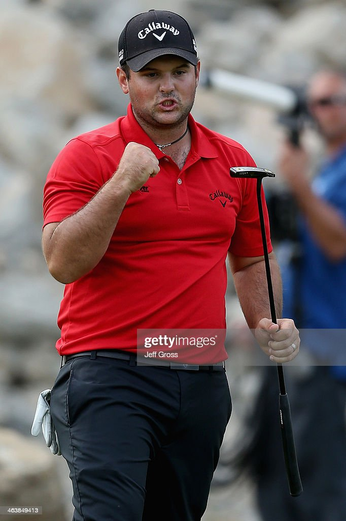 Patrick Reed celebrates after sinking a birdie putt on the 15th green during the final round of the Humana Challenge in partnership with the Clinton...