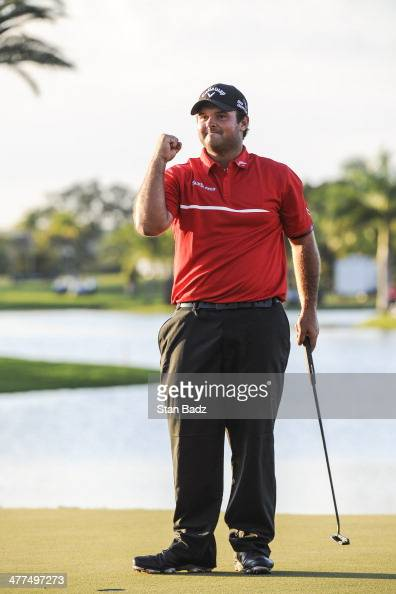 Patrick Reed celebrates after sinking the winning putt on the 18th green in the final round of the World Golf ChampionshipsCadillac Championship at...