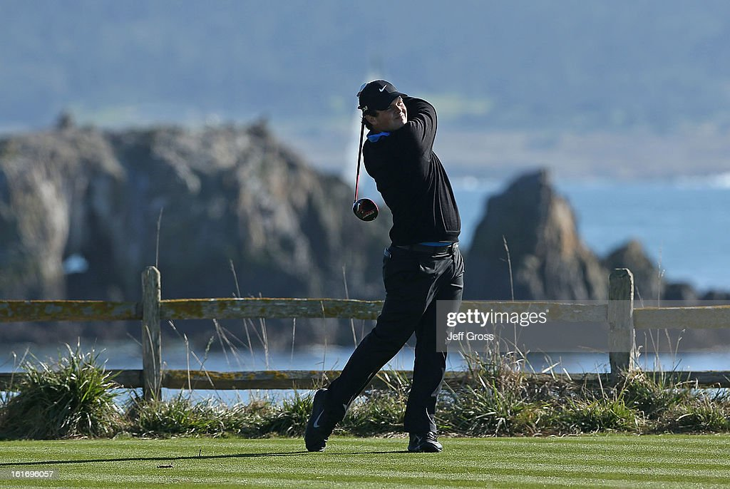 Patrick Reed hits a shot during the final round of the AT&T Pebble Beach National Pro-Am at Pebble Beach Golf Links on February 10, 2013 in Pebble Beach, California.