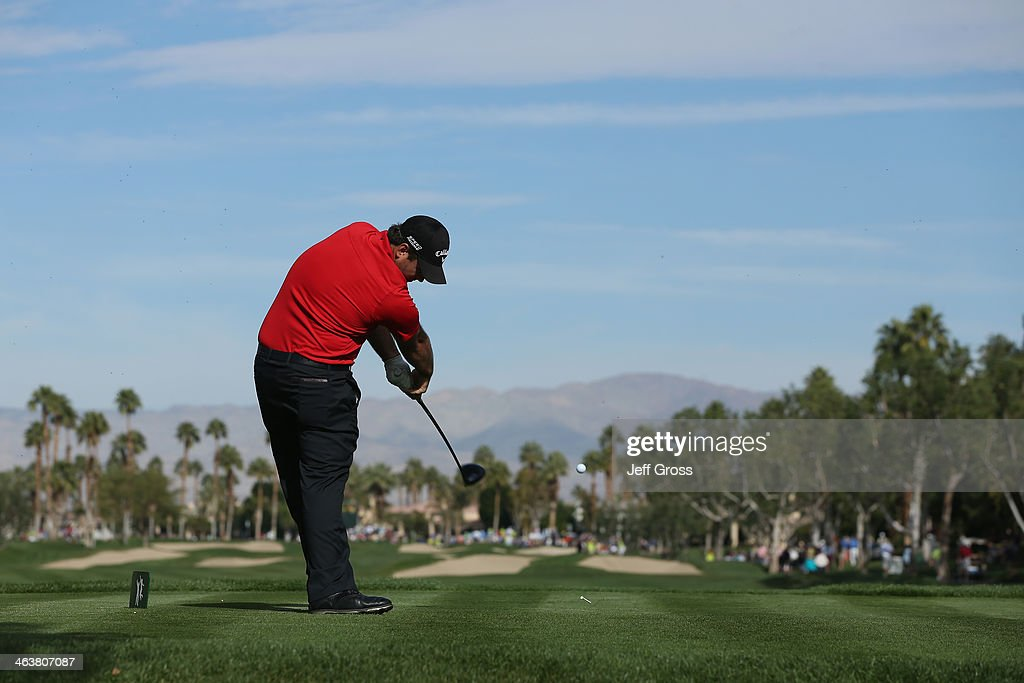 Patrick Reed hits a tee shot on the second hole during the final round of the Humana Challenge in partnership with the Clinton Foundation on the...