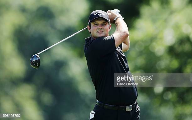 Patrick Reed hits his tee shot on the fifth hole during the third round of The Barclays in the PGA Tour FedExCup PlayOffs on the Black Course at...