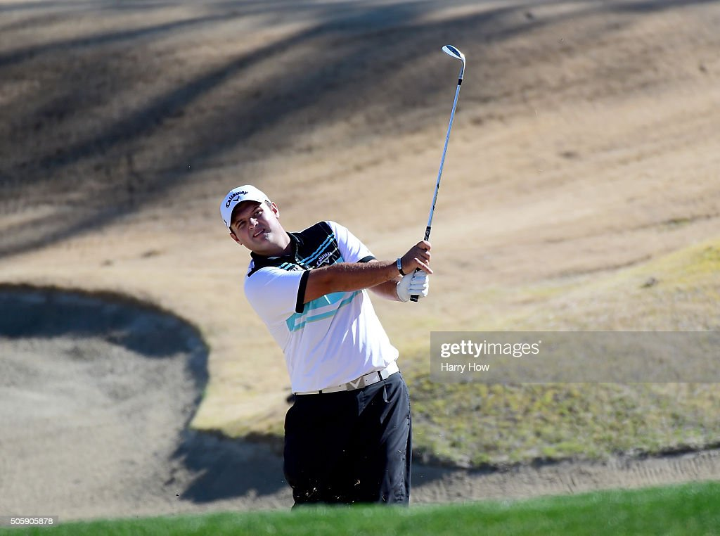 Patrick Reed hits out of a bunker on the 15th green during preview for the CarerrBuilder Challenge In Partnersihip With The Clinton Foundation at the...