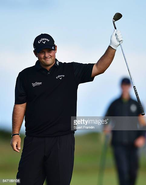 Patrick Reed of the United States celebrates as he hits an eagle on the 3rd hole during the first round on day one of the 145th Open Championship at...