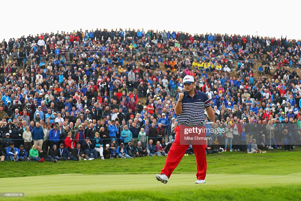 <a gi-track='captionPersonalityLinkClicked' href=/galleries/search?phrase=Patrick+Reed&family=editorial&specificpeople=846151 ng-click='$event.stopPropagation()'>Patrick Reed</a> of the United States celebrates on the 8th green during the Singles Matches of the 2014 Ryder Cup on the PGA Centenary course at the Gleneagles Hotel on September 28, 2014 in Auchterarder, Scotland.