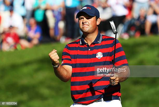 Patrick Reed of the United States celebrates on the eighth green during afternoon fourball matches of the 2016 Ryder Cup at Hazeltine National Golf...