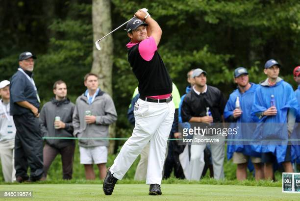 Patrick Reed of the United States hits from the 8th tee during the third round of the Dell Technologies Championship on September 3 at TPC Boston in...