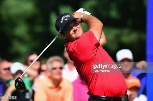 Patrick Reed of the United States plays his first shot on the 1st tee during the Porsche European Open Day Four at Green Eagle Golf Course on July 30...