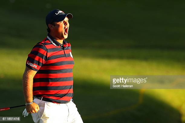 Patrick Reed of the United States reacts after a putt on the 15th green during afternoon fourball matches of the 2016 Ryder Cup at Hazeltine National...