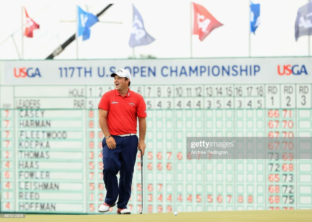 Patrick Reed of the United States reacts after missing a putt on the 18th green during the third round of the 2017 U.S. Open at Erin Hills on June 17, 2017 in Hartford, Wisconsin.