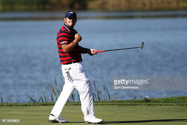Patrick Reed of the United States reacts after putting on the seventh green during afternoon fourball matches of the 2016 Ryder Cup at Hazeltine...