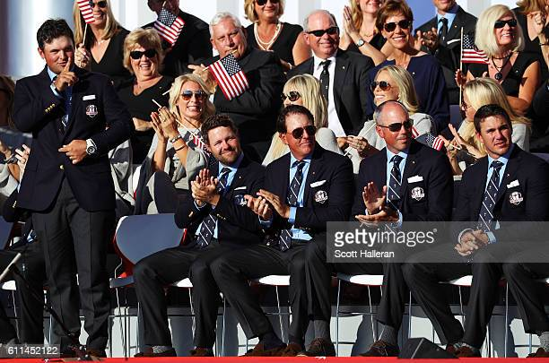 Patrick Reed of the United States reacts on stage during the 2016 Ryder Cup Opening Ceremony at Hazeltine National Golf Club on September 29 2016 in...