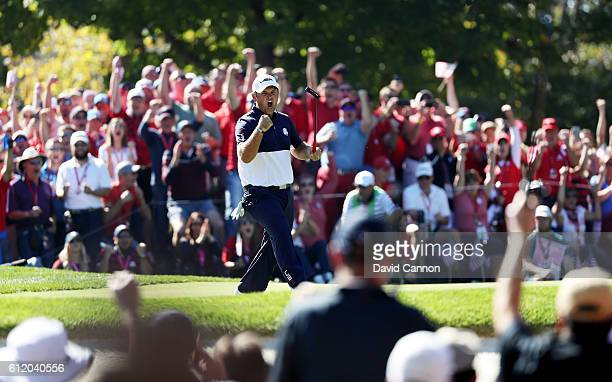 Patrick Reed of the United States reacts on the 12th green during singles matches of the 2016 Ryder Cup at Hazeltine National Golf Club on October 2...