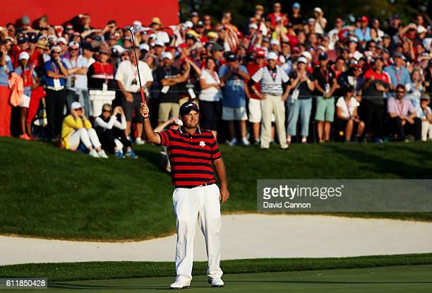 Patrick Reed of the United States reacts on the 16th green during afternoon fourball matches of the 2016 Ryder Cup at Hazeltine National Golf Club on...
