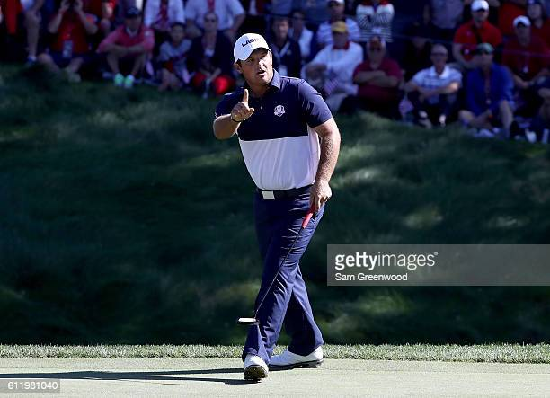 Patrick Reed of the United States reacts on the eighth green during singles matches of the 2016 Ryder Cup at Hazeltine National Golf Club on October...