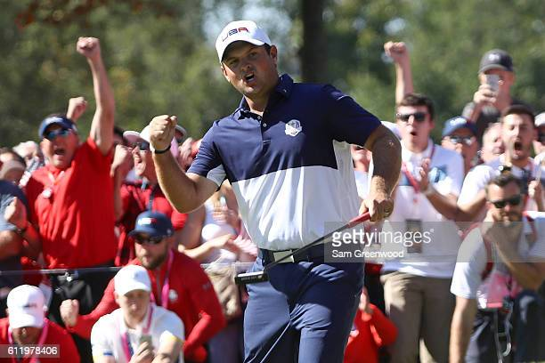 Patrick Reed of the United States reacts on the fifth green during singles matches of the 2016 Ryder Cup at Hazeltine National Golf Club on October 2...