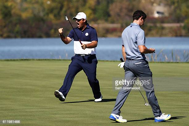Patrick Reed of the United States reacts on the seventh green during singles matches of the 2016 Ryder Cup at Hazeltine National Golf Club on October...