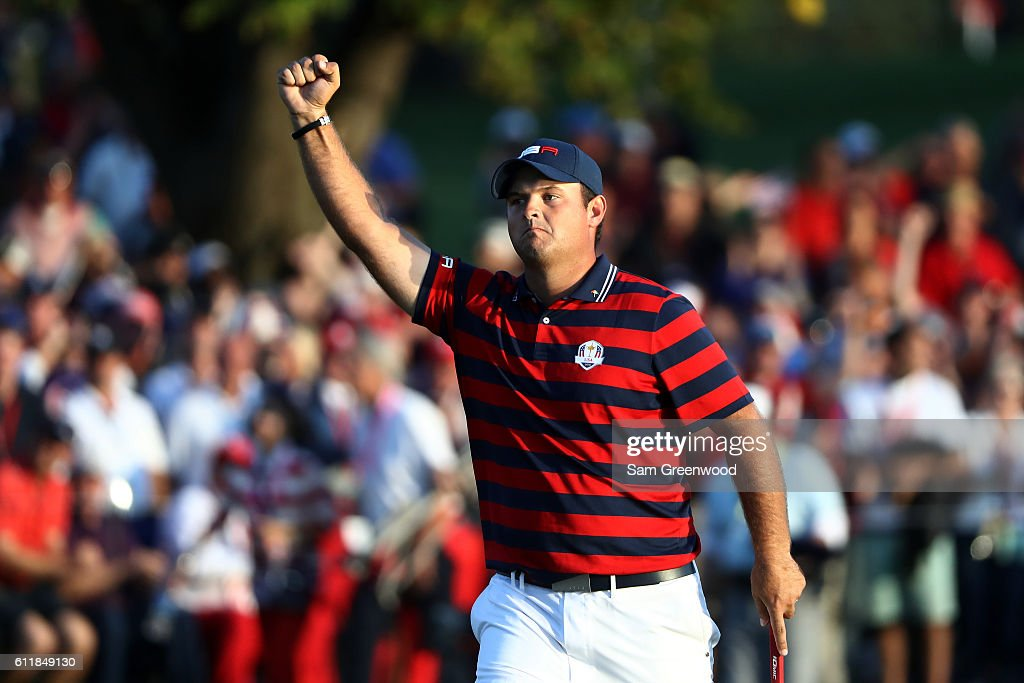 Patrick Reed of the United States reacts while walking on the 16th green during afternoon fourball matches of the 2016 Ryder Cup at Hazeltine National Golf Club on October 1, 2016 in Chaska, Minnesota.