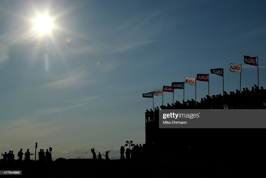 Patrick Reed of the United States tees off on the 18th hole during the third round of the 115th U.S. Open Championship at Chambers Bay on June 20, 2015 in University Place, Washington.