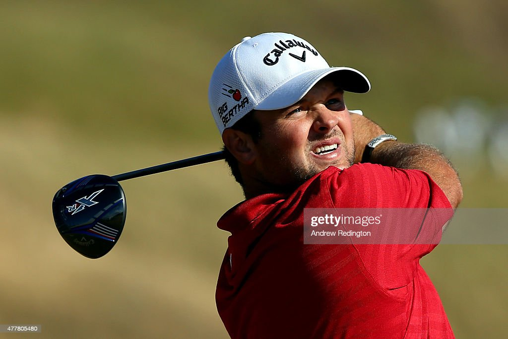 Patrick Reed of the United States watches his tee shot on the tenth hole during the second round of the 115th U.S. Open Championship at Chambers Bay on June 19, 2015 in University Place, Washington.