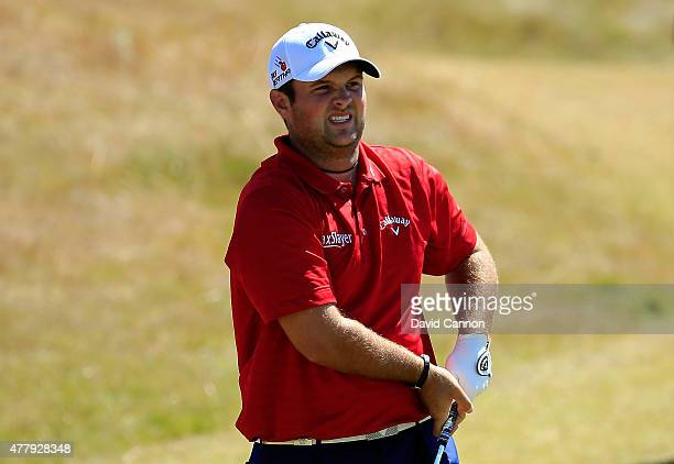 Patrick Reed of the United States watches his tee shot on the third hole during the third round of the 115th US Open Championship at Chambers Bay on...