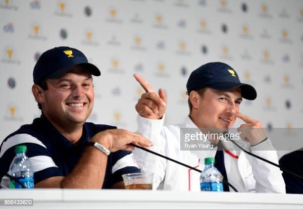 Patrick Reed of the US Team and Jordan Spieth of the US Team speak to the media during a press conference during the Sunday singles matches at the...