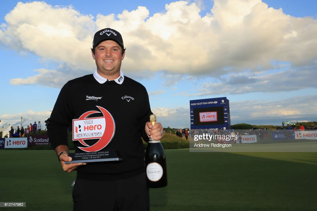 Patrick Reed of the USA poses with the trophy after winning The Hero Challenge during the AAM Scottish Open at Dundonald Links Golf Course on July 11, 2017 in Troon, Scotland.