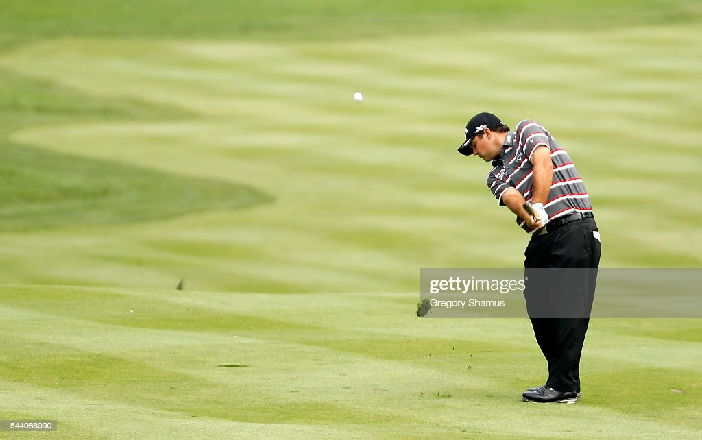 Patrick Reed plays a shot on the second hole during the second round of the World Golf Championships - Bridgestone Invitational at Firestone Country Club South Course on July 1, 2016 in Akron, Ohio.