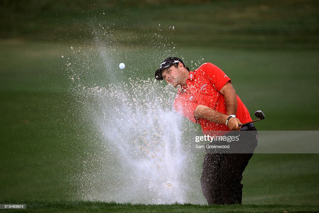 Patrick Reed plays a shot out of a bunker on the seventh hole during the final round of the Valspar Championship at Innisbrook Resort Copperhead...