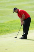 Patrick Reed putts at the first hole during the final round of the Humana Challenge in partnership with the Clinton Foundation on the Arnold Palmer...