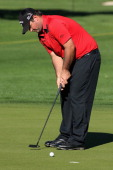 Patrick Reed putts at the seventeenth hole of La Quinta Country Club Course during the second round of the Humana Challenge in partnership with the...