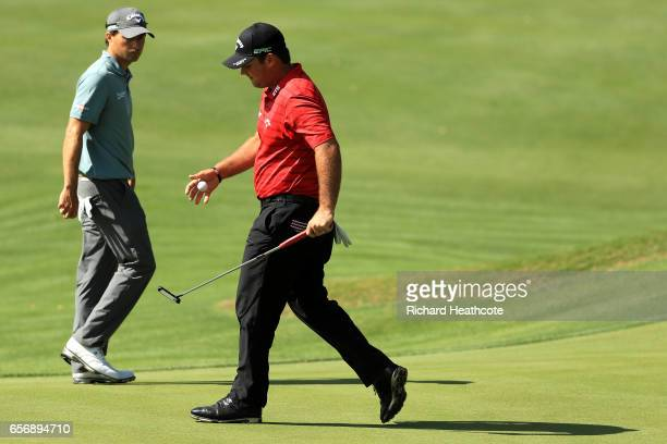 Patrick Reed reacts after losing the 5th hole of his match against Kevin Kisner during round two of the World Golf ChampionshipsDell Technologies...